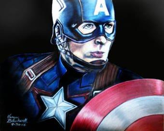 Unique original wall art colored pencil Captain America