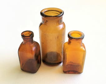 Collectible Vintage Brown Bottles - Old Bottles - Old Brown Bottles - Antique Bottles - Vintage Apothocary Bottles - Old Medicine Bottles