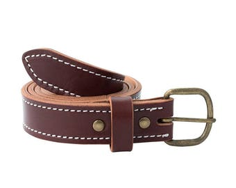 Handmade Leather Belt | English Bridle Leather | Brown