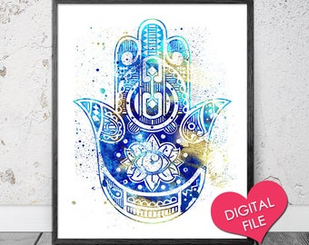 PRINTABLE Hamsa Art- Hamsa PRINTABLE Art- Hamsa Wall Art- Hamsa Watercolor Print- Digital Download- Hand Of Fatima, Evil Eye, Yoga Wall Art