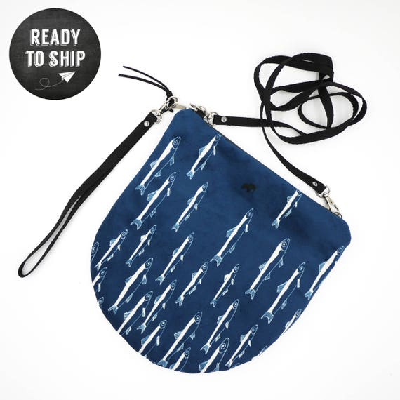 """Shoulder bag blue and white graphic """"anchovies"""", all-round LARGE brushed Poly Pochette"""