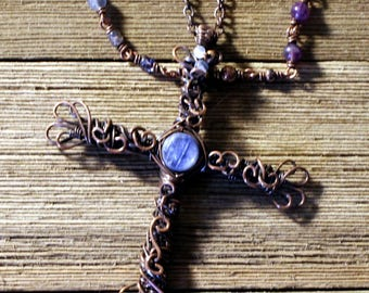 Copper Crucifix with Kyanite or Moonstone