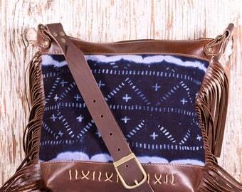 Brown Leather Fringe Bag - Brown Leather Boho Bag - African Mud Cloth - Tribal Boho Bag