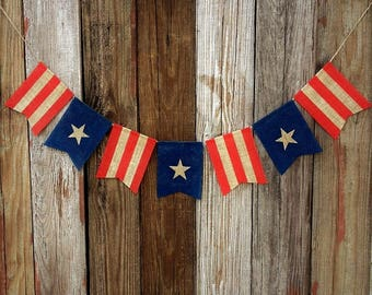 Flag Banner, Burlap Banner, July 4th Banner, Photo Prop, Independence Day Banner, Fourth of July Banner, July 4th Decoration