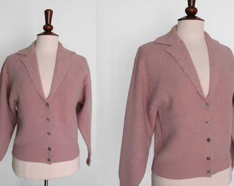 Ellen Tracy pink lambswool and angora raglan sleeve  cardigan sweater