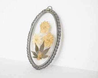 Vintage Pressed Dried Flower Wall Hanging