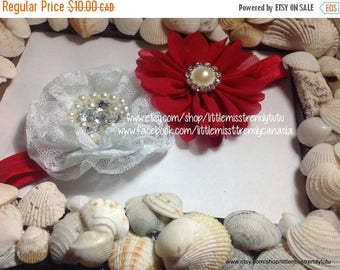 ON SALE Red and White Headband, Christmas Headband, Christmas, White and Red Christmas Headband, Couture Headband, Couture Christmas Headban