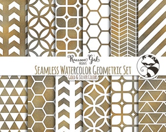 Seamless Watercolor Geometrics in Grunge Colors Digital Paper Set - Personal & Commercial Use