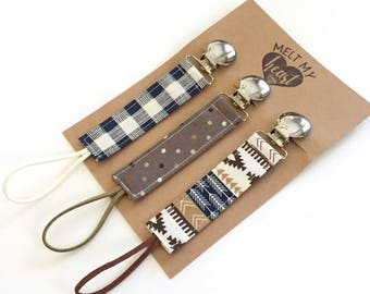 Pacifier Clips - Charlie Collection