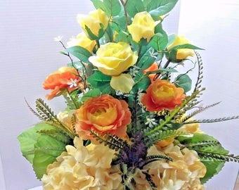 Yellow Hydrangea and rose centerpiece, silk flower floral arrangements