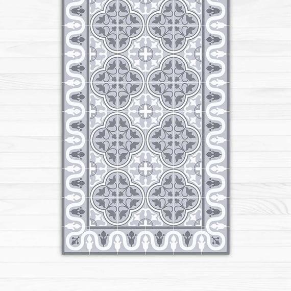 Vinyl Area Rug Decorative Grey Tiles Printed On Pvc