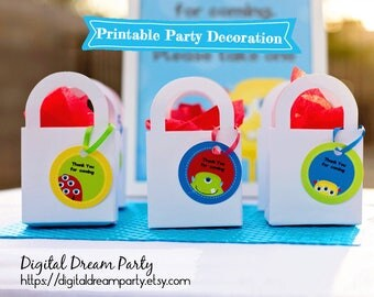 Title: Printable Party Circles Monster Tags Favors Birthday Beverage Goodie Bag Label Gift Decorations ddp0002