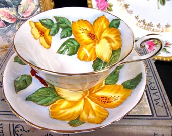 Vintage Tuscan Tea Cup and Saucer Yellow Hibiscus Floral Painted Teacup Pattern