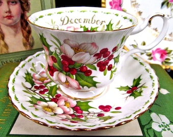 Royal Albert Tea Cup and Saucer Christmas Rose FOTM Series Teacup