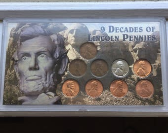 Vintage Lincoln Penny Coin Collection/gift/nine coin set