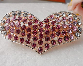 French barrette with pink and clear crystals in filigree  heart shape clip