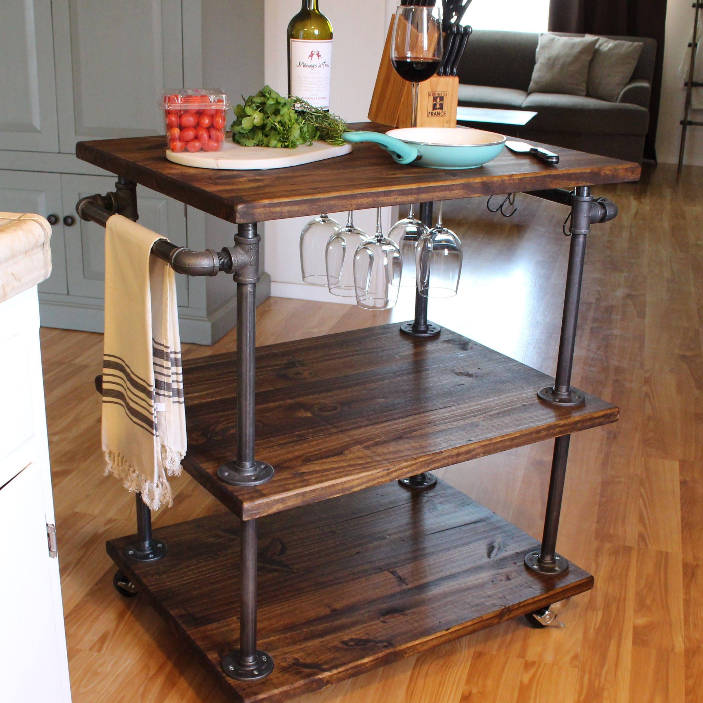 Industrial Kitchen Cart Bar Cart Serving Cart