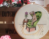 Embroidery pattern, pdf, embroidery design, comfy chair, hand embroidery, sewing, hoop art, dog on chair, Weimaraner, cute dog, Pointer