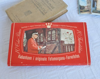 Block of 10 vintage cards in colors of the city of Copenhagen-Denmark
