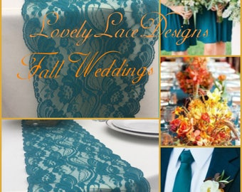 """TEAL/GREEN  Lace Table Runner, 3ft to10ft long x 7""""wide/ Wedding Decor/Peacock weddings/ overlay/teal Weddings/centerpiece/Fall weddings"""