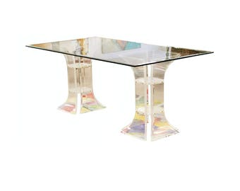 Mid Century Modern Glass & Lucite Dining Table Charles Hollis Jones 1970s