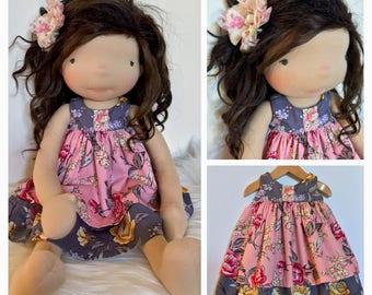 """Waldorf doll dress and hairclip 18-21"""""""