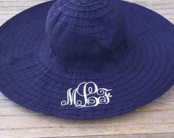 Monogrammed sun hat, floppy sun hat, beach hat, embroidered vacation hat