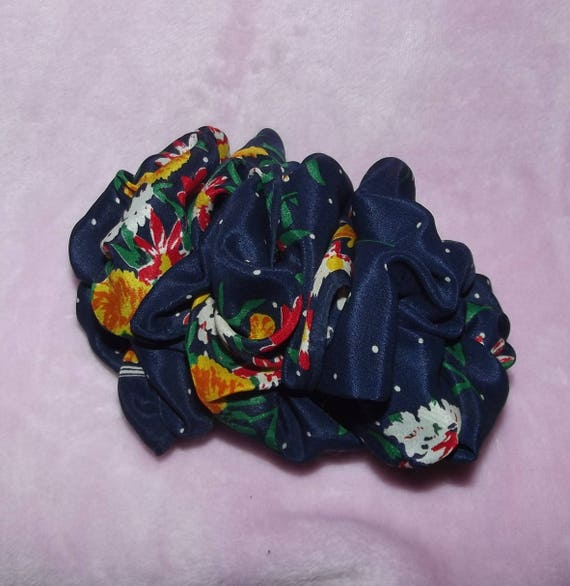 Becky Bows ~OOAK ROSETTE Barrette Hand crafted giant huge Scarf BIG hair bow Women or Girls navy blue yellow flowers