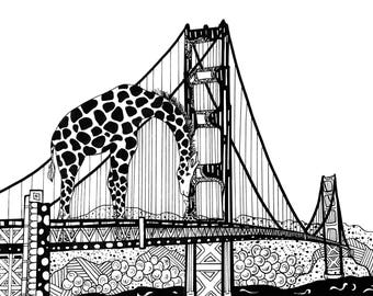 Limited Edition San Francisco/Giraffe Drawing Print- Signed by Kelsey Montague