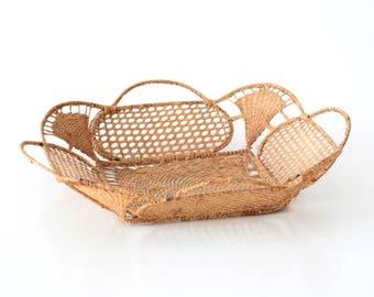 Vintage deco basket, filigree wickerwork, 50s basket, home deco