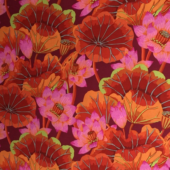 LAKE BLOSSOMS Red GP93  Kaffe Fassett Spring 2014 Sold in 1/2 yd increments