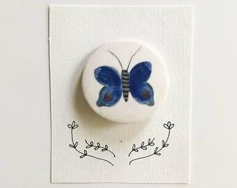 blue butterfly ceramic brooch