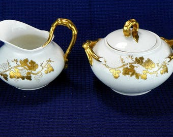 Gold Design Creamer and Sugar Set by J P L France Coffee Serving Set