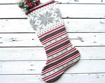 Knitted christmas stocking, knit christmas stocking, knit christmas stockings, sewn from a vintage sweater,  grey snowflake