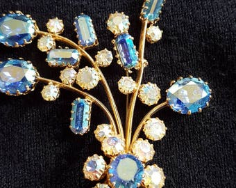 Vintage Large Blue Flower Brooch