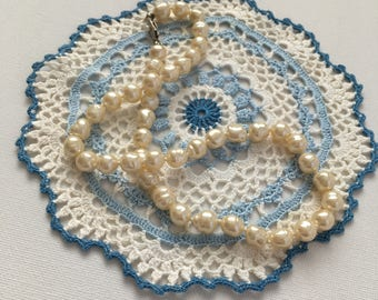 Vintage Small Circular Doilie Blue and White