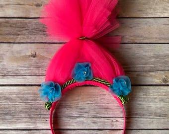 Princess Poppy costume, princess poppy headband, trolls costume, halloween costumes, girls halloween costume, MizThings, troll headband,