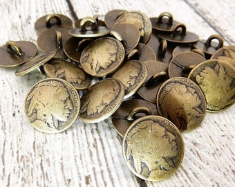 """Summer Sale INDIAN HEAD Metal Buttons, 5/8"""" Antique Brass Metal Button Qty 4 to 12 American Indian Head Nickel 15mm, Coin Reproductions Butt"""