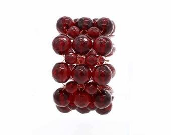 Red Beaded Stretchy Bracelet