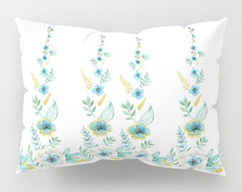 Blue Floral Pillow Case -  blue and white flowers,  beautiful, bedroom decor, art, curate the bedroom