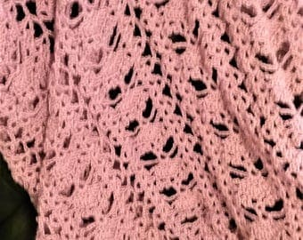 Soft pink lace afghan