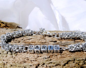 Personalised travel bracelet  silver  byzantine with  silver lettering and clasp Lettering
