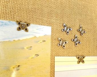 Cork board pins - thumbtack set - bulletin board pins - push pins - antique gold butterfly 12pcs