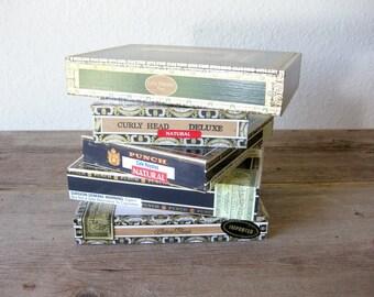 Cigar Boxes ~ Set of 5 ~ Covered Wood Cigar Boxes ~ Casa Torano ~ Arturo Fuente ~ Punch