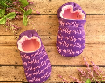 Customizable Name Baby & Toddler Soft Sole Moccasins - Various Colors - New Baby Gift - Gender Neutral Baby Shoe - Crib Shoes -Baby Shower