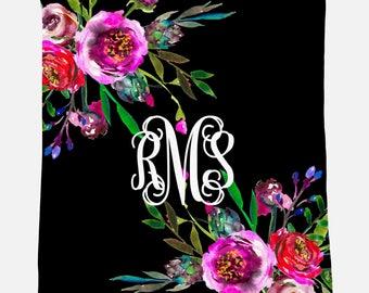 Monogrammed Blanket | Bright Floral Bouquet | Personalized Blanket | Monogrammed Gift