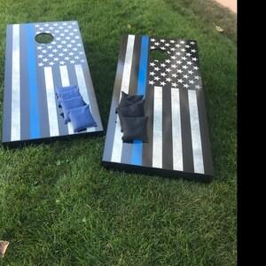Police Blue Line American Flag Cornhole Decal Wrap