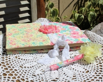 Handmade/pink/white/floral/roses/yellow/lace/fabric/journal/notebook/matching pen. Gift set. Stationery set/Journal set.