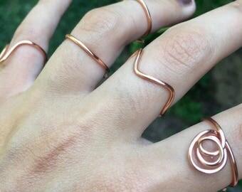 Boho ring set, boho ring, bohemian ring set, boho jewelry, rose gold ring set, copper ring set, fall ring set