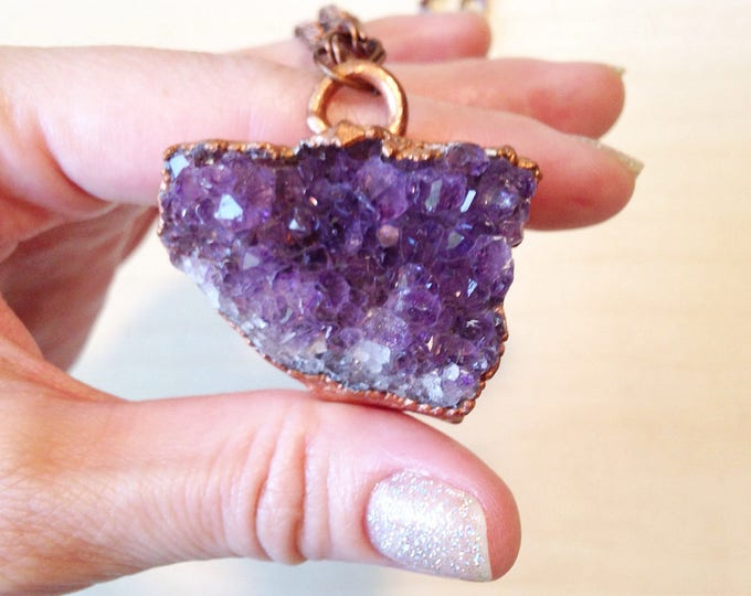 SALE Amethyst Cluster with Copper electroplated Necklace, electroplated Crystal necklace, raw amethyst necklace,